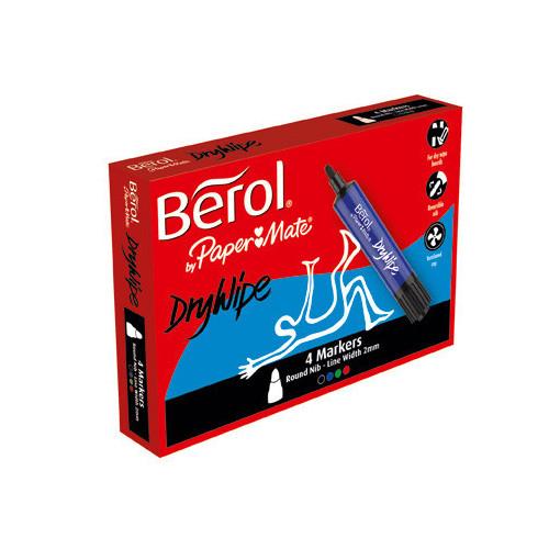 (D)Berol Dry Wipe Marker Round Pk4-Asstd