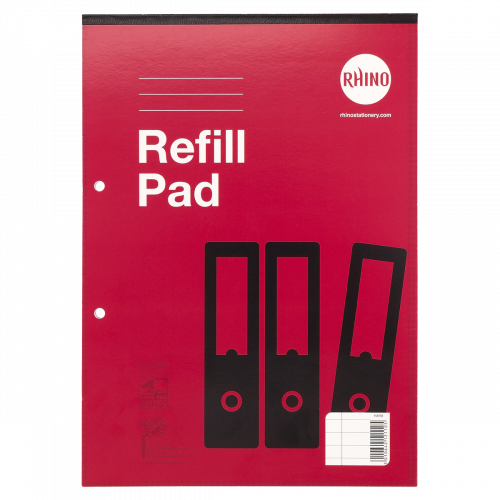 Rhino Refill Pad A4 80 Leaves 8mm Ruled & Margin Red Cover