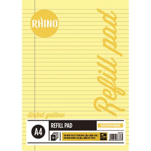 Rhino Refill Pad A4 50L F8M HB YellowPk6