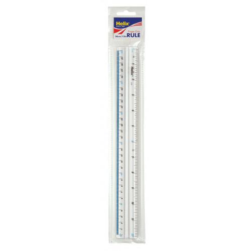 """Helix Finger Grip Ruler 12""""/30cm Pk 10"""