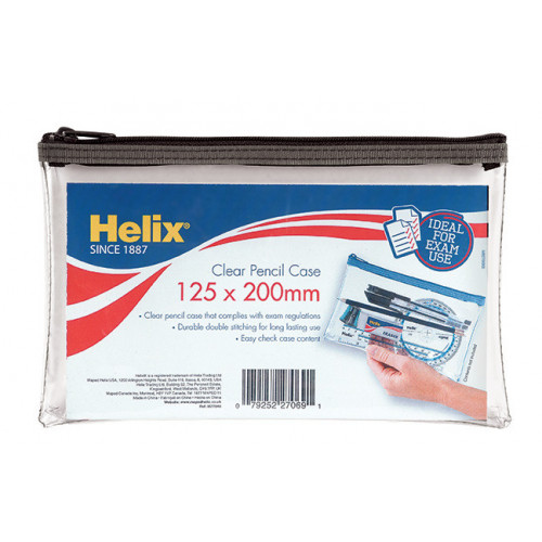 Helix Clear Pencil Case 125x200mm Pk12
