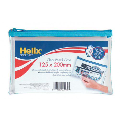 Helix Clear Pencil Case 125x200mm Pk12