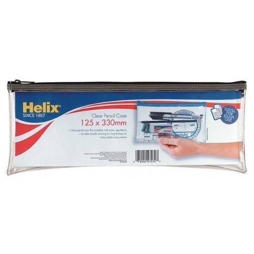 Helix Clear Pencil Case 125x330mm Pk 12
