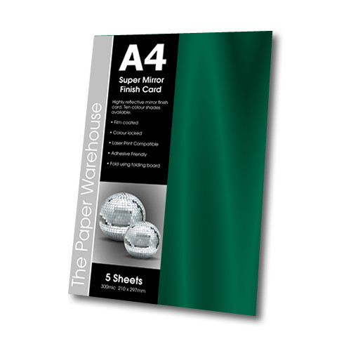 MIRRI H CARD GREEN A4 270gsm PK 5