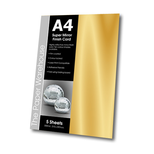 MIRRI H CARD GOLD A4 270gsm PK 5