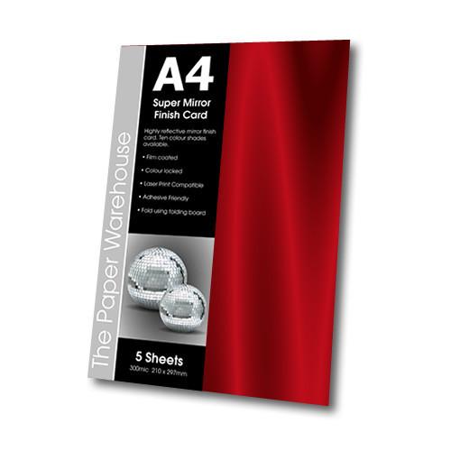 MIRRI H CARD RED A4 270gsm PK 5
