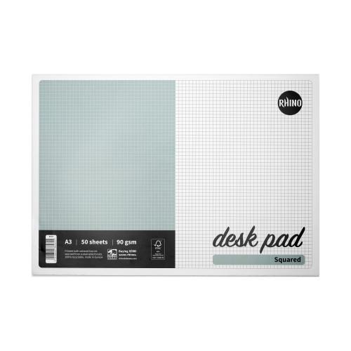 RHINO Desk Pad, 5mm Squared, A3, 90gsm FSC Paper, 50 Sheets