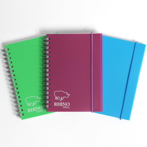 RHINO A6 Polypropylene Notebook with Elastic Band 200 Page, Assorted Colours, F7 (Pack 6)