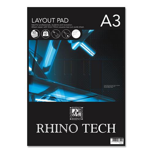 (D)Rhino Layout Pad A3 50L Blank Pk2