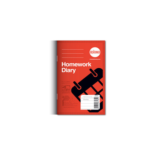 Homework Diary 160x100 84p 6 Day Yellow Pk100