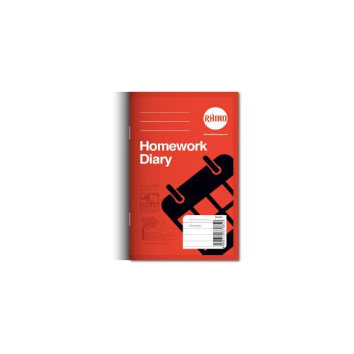 Homework Diary 160x100 84p 6 Day Yellow Pk100