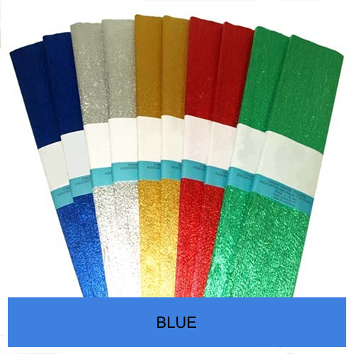 BLUE METALLIC CREPE  500mmx2.5m