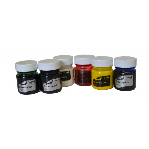 ASSORTED ART DRAWING INKS 28ml PK6