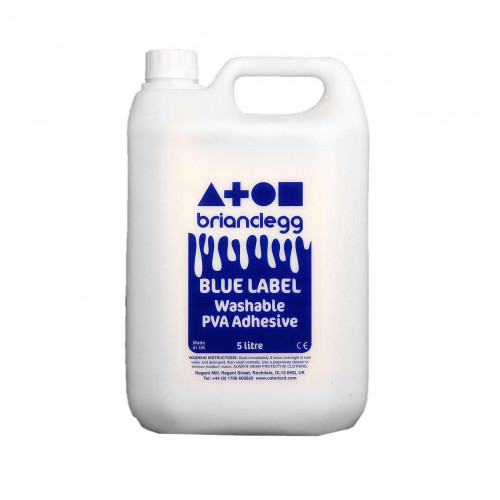 PVA Washable Glue Blue Label Pk5 Litres