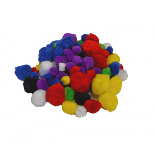 ASSTD COLOURED & SIZES POM-POMS PK100